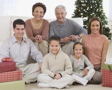 Multi-generational Hispanic family on Christmas - stock photo