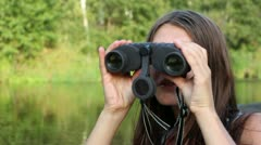 girl, binoculars - stock footage