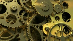 Abstract gold Clockwork. 3d animation - stock footage