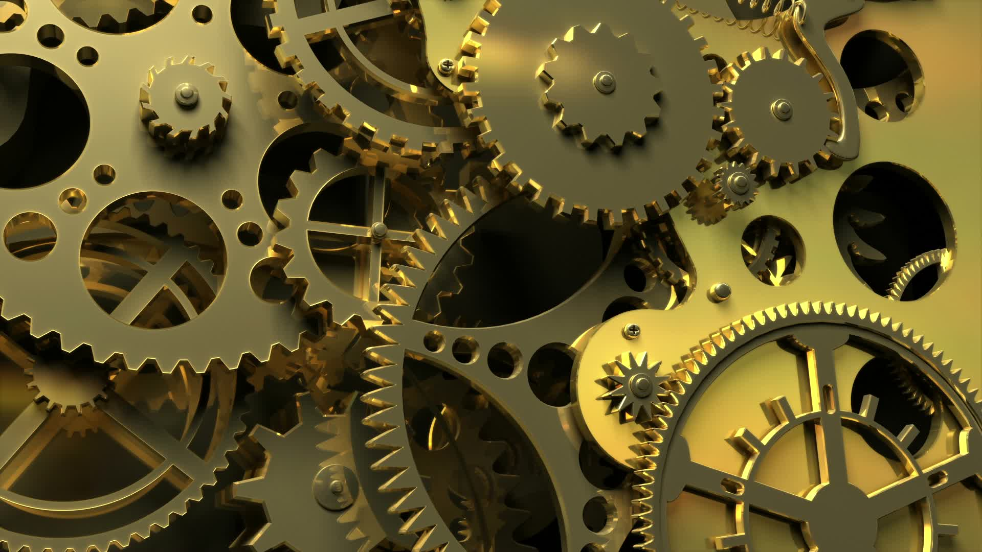 Abstract Gold Clockwork  3d Animation Stock Video 11600127