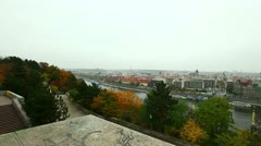 Panoramic view on prague from high point Stock Footage