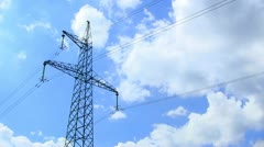 Sky and power lines. Time lapse - stock footage