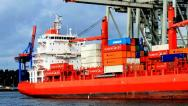 Stock Video Footage of Container ship - Port of Hamburg - Germany - 2