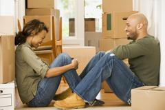 African couple in new house Stock Photos