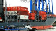 Stock Video Footage of Container ship - Port of Hamburg - Germany - 4