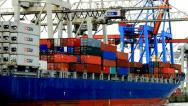 Stock Video Footage of Container ship - Port of Hamburg - Germany - 6