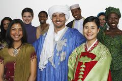 Multi-ethnic people in traditional dress Stock Photos