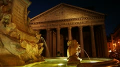 Details of the Pantheon - historical monument of Rome, time-lapse - stock footage