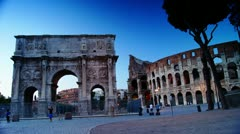 Stock Video Footage of Dusk near the Colosseum and the Arch of Constantine,time-lapse