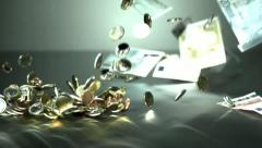 Euro coins and notes falling down 4 - High Speed 1050fps Stock Footage