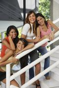 South American women on stairs Stock Photos