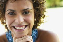 Close up of South American woman smiling - stock photo