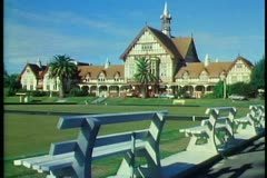 Elizabethan Bathhouse in Rotorua New Zealand, Tudor style Stock Footage