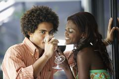 South American couple drinking wine Stock Photos