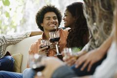 South American couple at party - stock photo