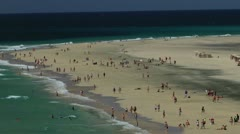 Beach on Fuerteventura, Canary Islands, Spain, time lapse 01 - pan left to right Stock Footage