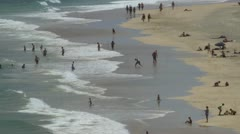 Beach on Fuerteventura, Canary Islands, Spain, time lapse 01 - pan right to left - stock footage
