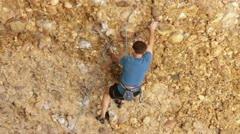 Man rock climbs Maple Box Canyon Utah HD 2677 Stock Footage