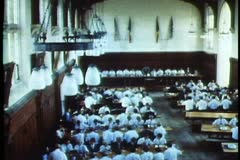 Christ College, Christchurch, New Zealand, dining hall, wide shot, tilt down Stock Footage