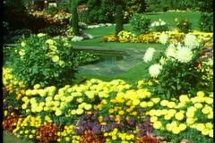 Stock Video Footage of Gardens of Christchurch, New Zealand, medium wide shot, pan right