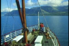 TSS Earnslaw steamer, Queenstown, New Zealand, medium shot of bow, POV Stock Footage