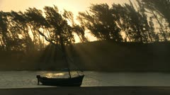 Backlit shot of a dhow  boat moored on a rivers edge Stock Footage