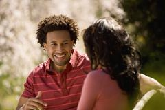 African American couple talking Stock Photos
