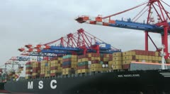 Container ship, time lapse - zoom out 2 Stock Footage