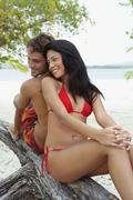 South American couple at beach Stock Photos