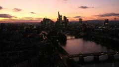 Frankfurt Skyline, Germany, time lapse at sunset Stock Footage
