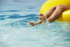 South American woman in raft Stock Photos