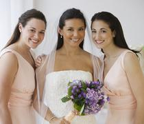 Stock Photo of Portrait of Hispanic bride and bridesmaids