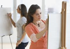 Female college students in art class Stock Photos