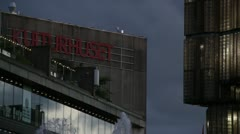 Kulturhuset sign in central Stockholm at dusk. Stock Footage