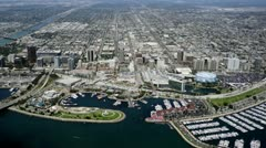 Aerial Over Downtown Long Beach Stock Footage