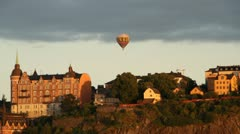 Hot air balloon over Sodermalm in central Stockholm Stock Footage