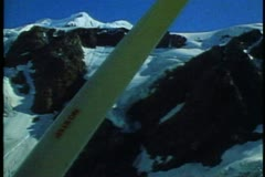 New Zealand, Southern Alps, Cessna 172, ski plane, POV into mountains with strut Stock Footage