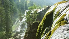 Waterfall in Jiuzhaigou Valley, Sichuan, China Stock Footage