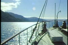 TSS Earnslaw steamer, Queenstown, New Zealand, POV, backlighting with lake Stock Footage