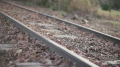 Train Track Tilt Pan In Woods Bokeh Vanishing Point - stock footage