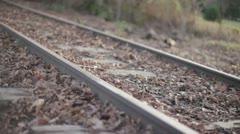 Train Track Tilt Pan In Woods Bokeh Vanishing Point Stock Footage