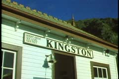 Kingston sign, close up of Rail Depot Kingston, New Zealand Stock Footage