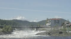 Kongsberg and the river running through the city Stock Footage
