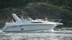 Swedish motor boat drives from left to right. Stock Footage