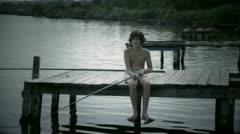 Boy fisherman Stock Footage