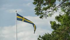 Long Swedish flag blowing in wind with tree in foreground Stock Footage