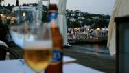Turkish Beer on a Beach Resort in Bodrum, Turkey Stock Footage