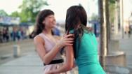 Stock Video Footage of Happy female friends meeting in the city, steadicam shot HD