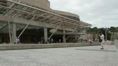 Exterior of Scottish Parliament Edinburgh Scotland Stock Footage