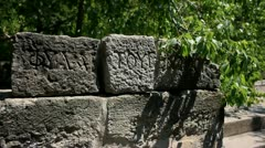 Ancient Script on The Bodrum Castle of The Knights of St.Peter Stock Footage